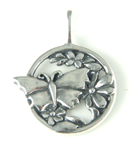 Silver Butterfly and Flowers Pendant