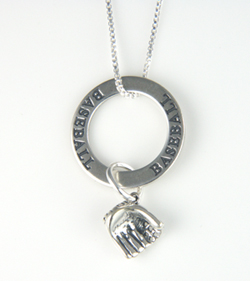 Silver Baseball Necklace with Affirmation Ring & Baseball Glove