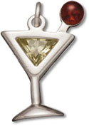 Silver apple-tini drink charm