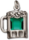 Sterling silver green beer mug charm or pendant
