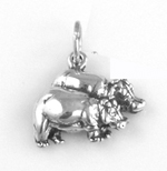 Silver Hippos Charm