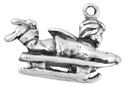 silver winter child sleighing charm