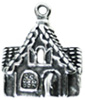 Silver gingerbread house charm