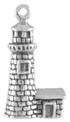 Silver lighthouse charm