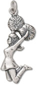 Silver Cheerleader with Pom Poms Charm