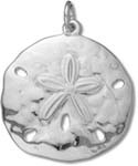 Sterling Silver Bright Medium Sand Dollar Charm C3355