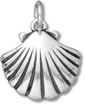 Silver Seashell Fan Charm C3357