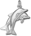 Silver double dolphins charm