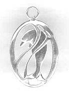 Silver Dolphin in Oval Pendant C3362