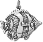 Silver tropical fish pendant C3372