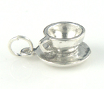 Sterling silver teacup and saucer charm