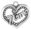 Silver mom in heart charm