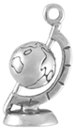 Silver Moveable World Globe charm