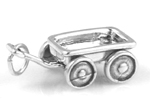 Silver wagon charm (wheels move)