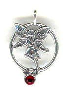 Silver fairy with red stone charm or pendant