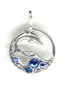 Silver dolphin charm or pendant with blue crystals