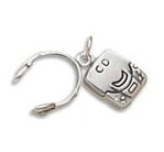 Silver CD player with headphones charm