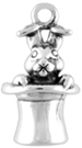 Silver Rabbit in Top Hat Charm