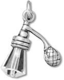 Silver crystal perfume bottle charm
