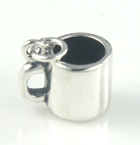 Plain and shiny silver coffee mug charm