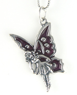 Silver & red enamel fairy charm (chain not included)