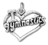 Silver I Love Gymnastics in Heart Charm