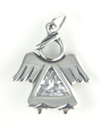 Sterling silver clear crystal angel charm