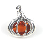 Silver with orange crystal Halloween pumpkin charm