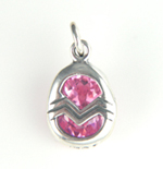 Silver crystal Easter egg charm
