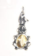 Sterling silver crystal bunny charm