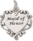 Sterling silver Maid of Honor in Heart charm