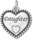 Sterling Silver Daughter in Beaded Heart Charm