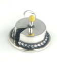Silver Enamel Birthday Cake with 1 Candle Charm