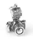 Silver 3-D Camera Charm