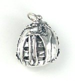 Large Silver Baseball Glove Charm or Pendant