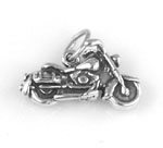 Silver motorcycle charm or pendant
