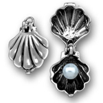 Silver oyster with pearl charm (opens)