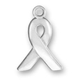 Silver flat cancer ribbon charm