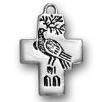 Silver cross with dove charm