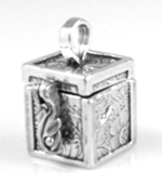 Silver large prayer box charm or pendant that opens