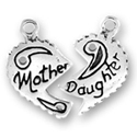 Silver mother daughter charm