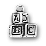 Silver ABC block baby charm