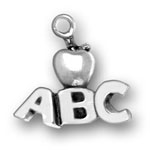 Silver ABC with apple charm