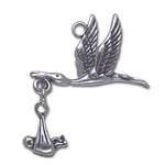 Silver Stork Charm