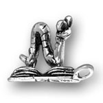 silver book worm charm
