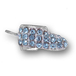 Silver blue crystal baby shoe charm