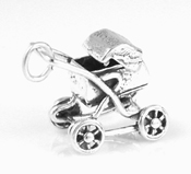 Silver baby carriage charm with moveable top