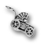 Silver baby carriage charm