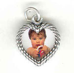 Silver Heart-shaped Photo Charm