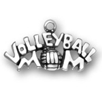 Sterling silver volleyball mom charm (volleyball for O in Mom)